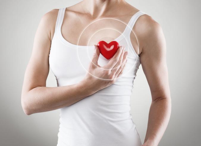 Heart shape in woman's hands. Cardiovascular medicine